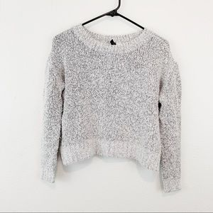 Divided Gray Chunky Cropped Sweater
